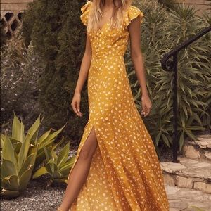 Yellow Floral Lulu's Maxi Dress - S